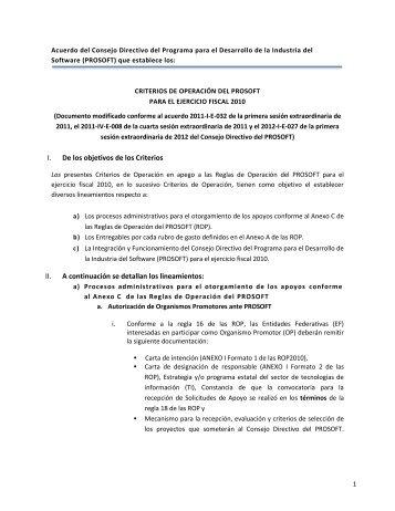 Criterios Documento modificado conforme al acuerdo 2011 ... - Prosoft