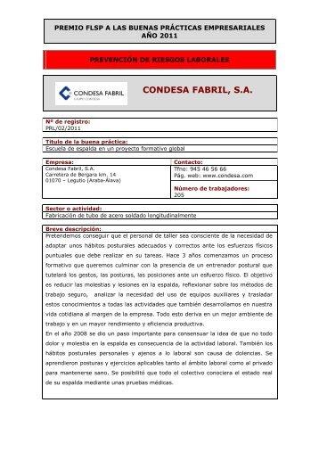 CONDESA FABRIL, S.A. - Fundación Laboral San Prudencio
