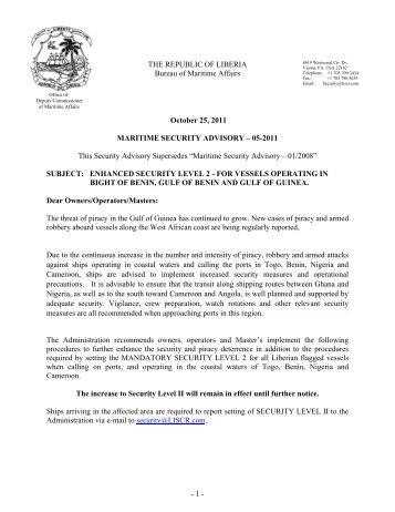 Maritime Security Advisory (05-2011) - liscr