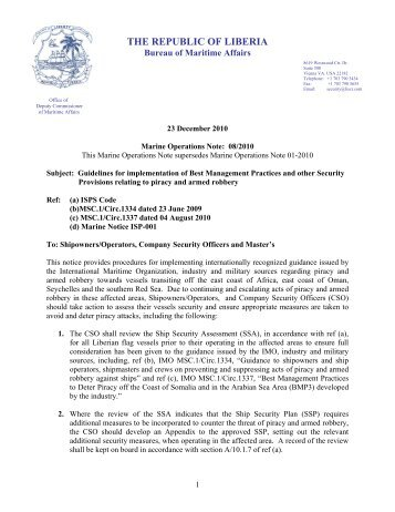Marine Operations Note 08/2010 - liscr