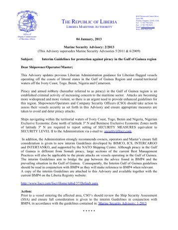 Marine Advisory – Security 02-2013 - liscr