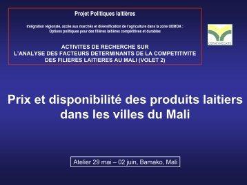 Prix et disponibilité des produits laitiers dans les villes du ... - REPOL