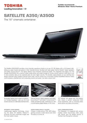 Toshiba Satellite A350D Acoustic Silencer Driver Windows XP