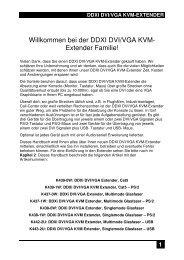 Willkommen bei der DDXI DVI/VGA KVM- Extender Familie!