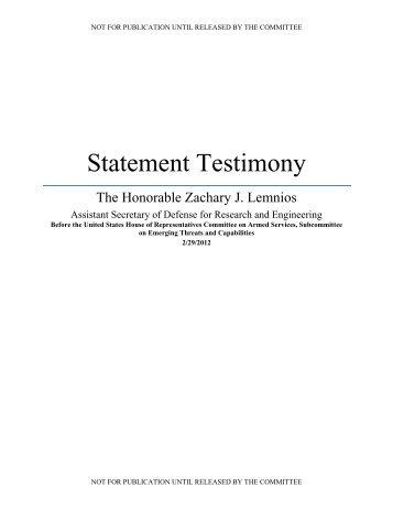 Statement Testimony - Defense Innovation Marketplace