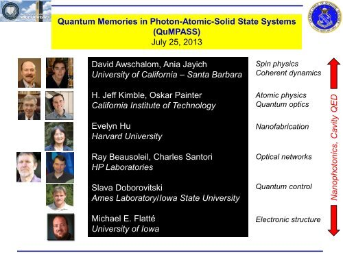 Quantum Memories in Photon-Atomic Solid State Systems - Defense ...