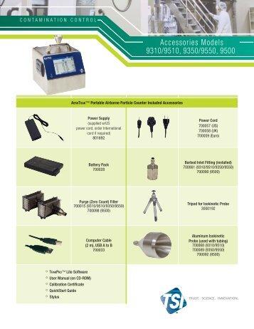 AeroTrak Portables Accessories Models 9310/9510, 9350/9550, 9500