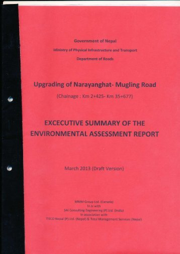 Upgrading of Narayanghat- Mugling Road - About Department of ...