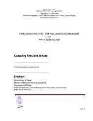 Consulting Firm/Joint Venture: - About Department of Road