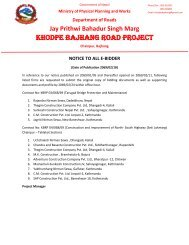 Khodpe Bajhang Road Project - About Department of Road