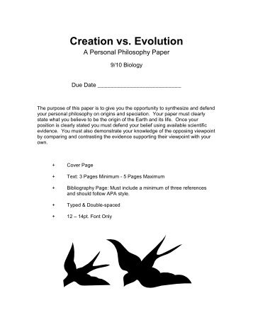 creation and evolution thesis statement Evolution vs creationism evolution of paper could be a good human evolution essay a paper on evolution must be written with thorough personal statement.