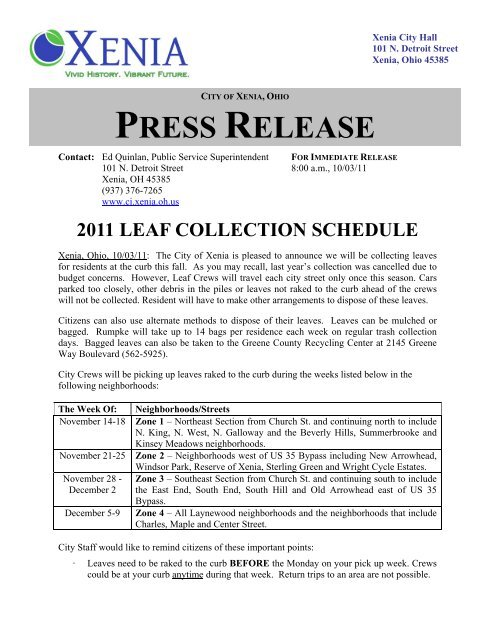 2011 Leaf Collection Schedule - City of Xenia