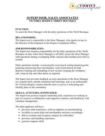 Store Supervisor Job Description   Victoria Hospice