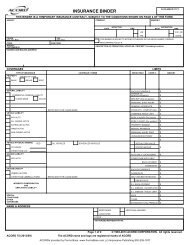 INSURANCE BINDER - ACORD Forms