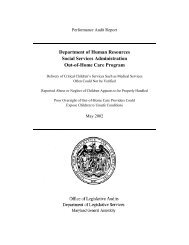 Social Services Administration - Out-of-Home Care Program