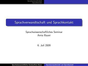 Sprachverwandtschaft und Sprachkontakt - GWDG