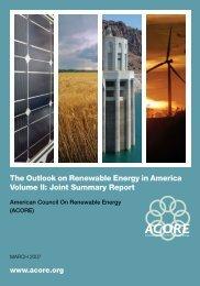 The Outlook on Renewable Energy in America Volume II - American ...