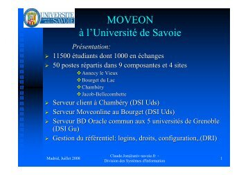 MOVEON à l'Université de Savoie - moveon conference 2008