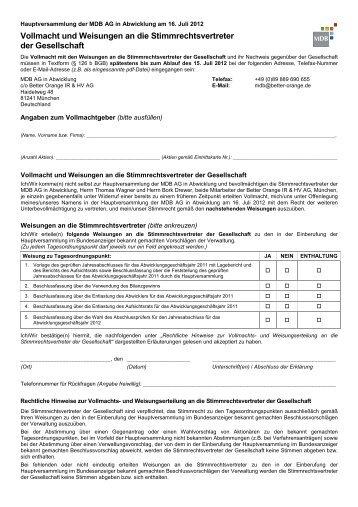 Formular Vollmacht Stimmrechtsvertreter Und Briefwahl