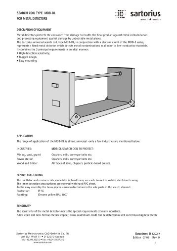 SEARCH COIL TYPE MDB-DL FOR METAL DETECTORS