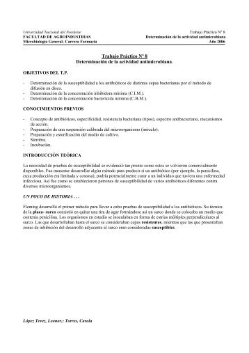 Trabajo Práctico Nº 8 Determinación de la actividad antimicrobiana.