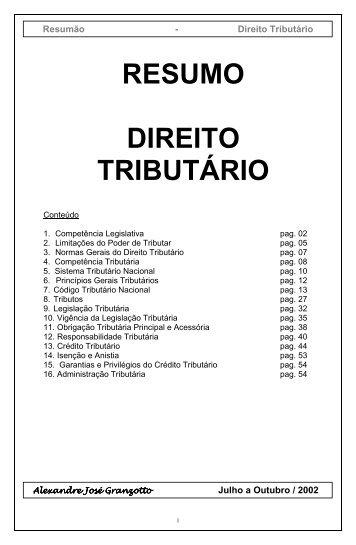 RESUMO DIREITO TRIBUTÁRIO - Guiadoconcursopublico.com.br