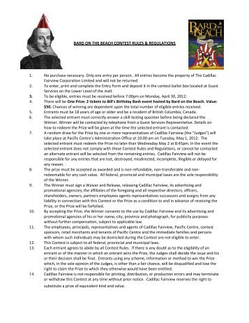 bard on the beach contest rules & regulations - Pacific Centre