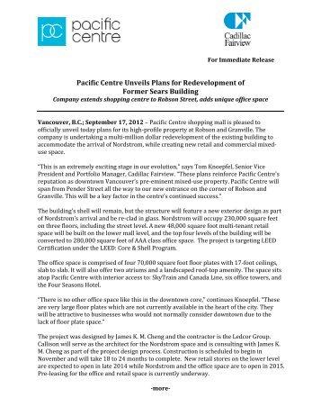 Re-development Press Release - Pacific Centre