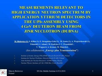 Measurement Relevant to High Energy Neutron Spectrum by ... - JINR