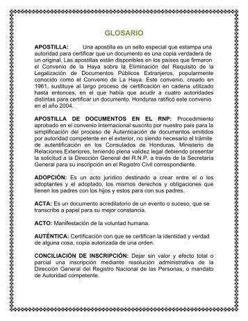 GLOSARIO - Registro Nacional de las Personas