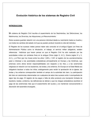 EVOLUCION - REGISTRO CIVIL - Registro Nacional de las Personas