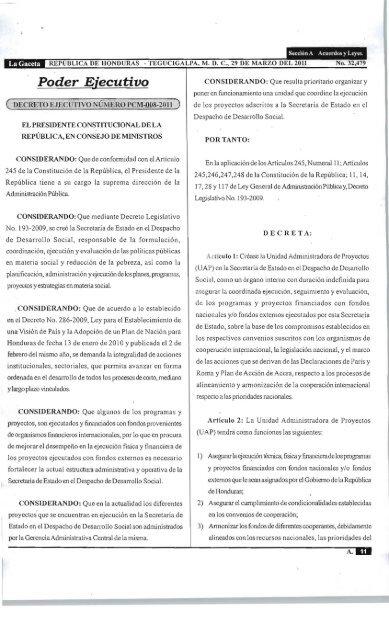 Decreto Pcm 008 2011 Secretarãa De Estado Del Despacho