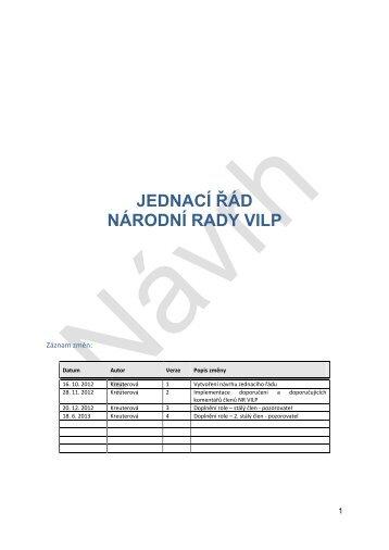 Jednací řád Národní rady VILP