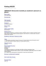 Katalog NSUZS - Národní referenční centrum