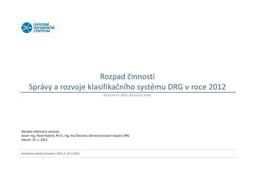 Rozpad činností Správy a rozvoje klasifikačního systému DRG v roce ...