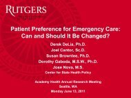8930 - Center for State Health Policy, Rutgers University