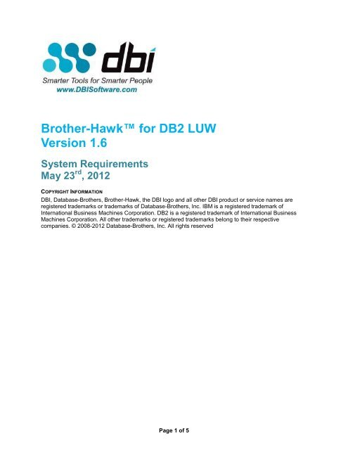 Brother-Hawk for DB2 System Requirements - DBI Software
