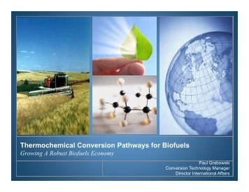 Thermochemical Conversion Pathways for Biofuels - Northeast ...