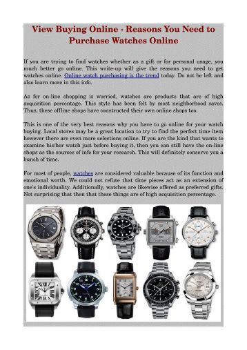 View Buying Online ­ Reasons You Need to Purchase Watches Online