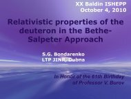 Relativistic properties of the deuteron in the Bethe- Salpeter ... - JINR