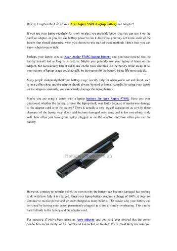 How to Lengthen the Life of Your Acer Aspire 5745G Laptop Battery and Adapter?.pdf
