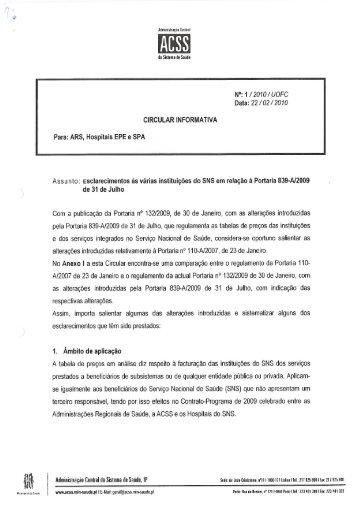 Circular Informativa n.º 1 de 22-02-2010 - Portal da Codificação ...