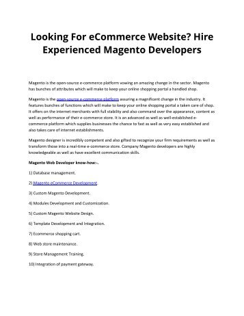 Looking For eCommerce Website? Hire Experienced Magento Developers