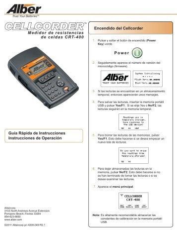 Encendido del Cellcorder Guía Rápida de Instrucciones ... - Alber