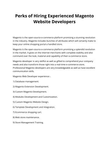Perks of Hiring Experienced Magento Website Developers