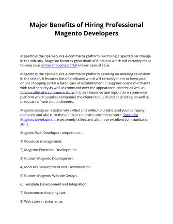 Major Benefits of Hiring Professional Magento Developers