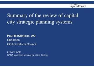 Summary of the review of capital city strategic planning ... - Ceda