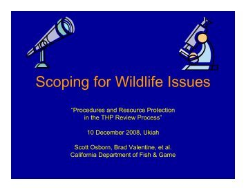Scoping for Wildlife Issues - Cal Fire
