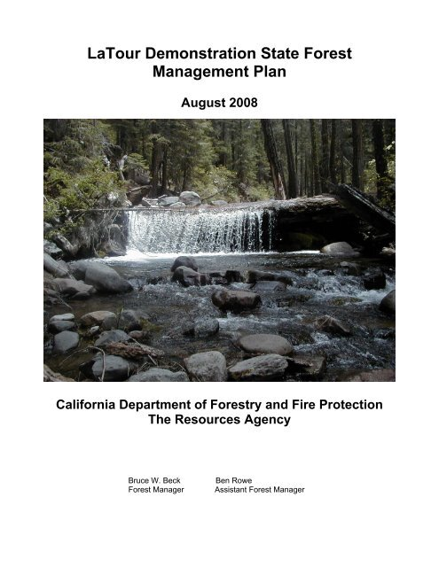 Latour Demonstration State Forest Management Plan Cal Fire