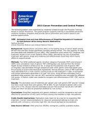2013 Cancer Prevention and Control Posters - Preventive Medicine ...